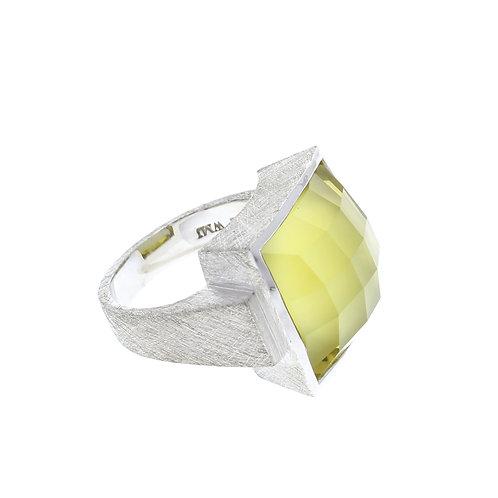 Square Lemon Quartz Ring