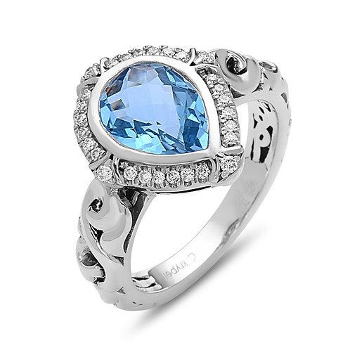 Charles Krypell Ivy Pear Shaped Blue Topaz & Diamond Ring
