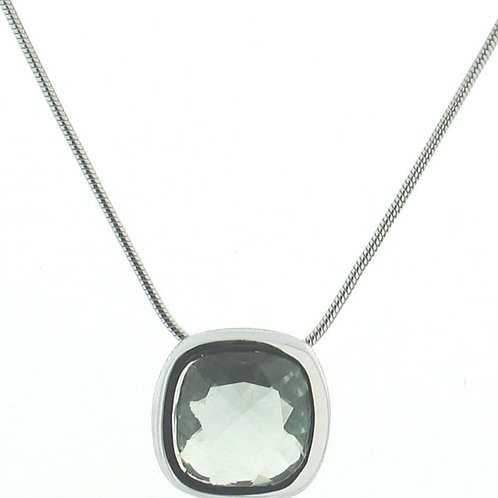 Cushion Green Amethyst Solitaire Necklace