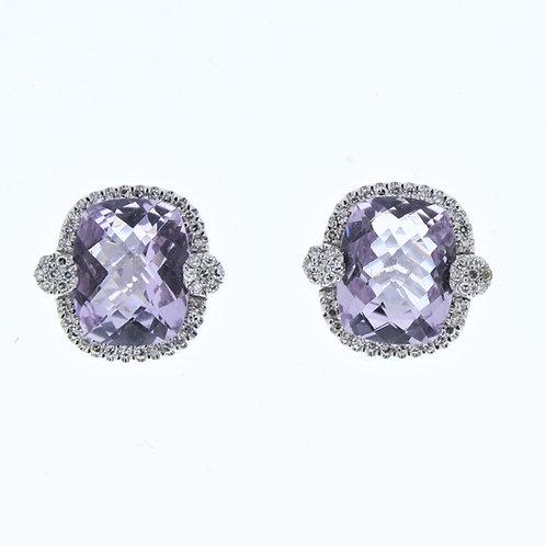 Pink Amethyst and Diamond Stud Earrings