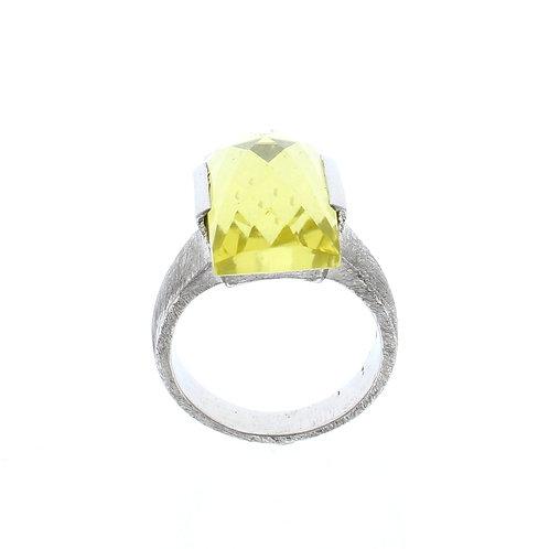 Lemon Quartz Rectangle Ring