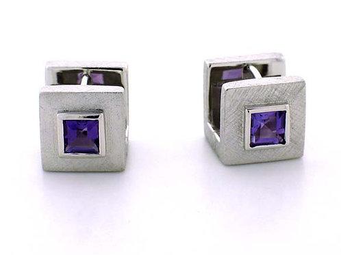 Amethyst Square Huggie Earrings