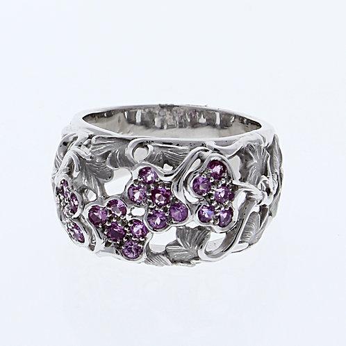 Pink Sapphire Flower Ring
