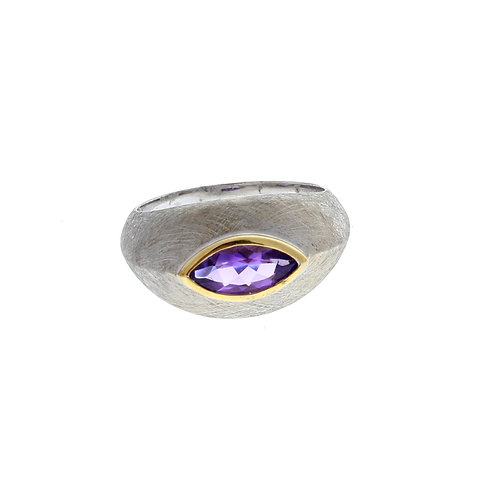 Amethyst Marquise Bezel Set Ring