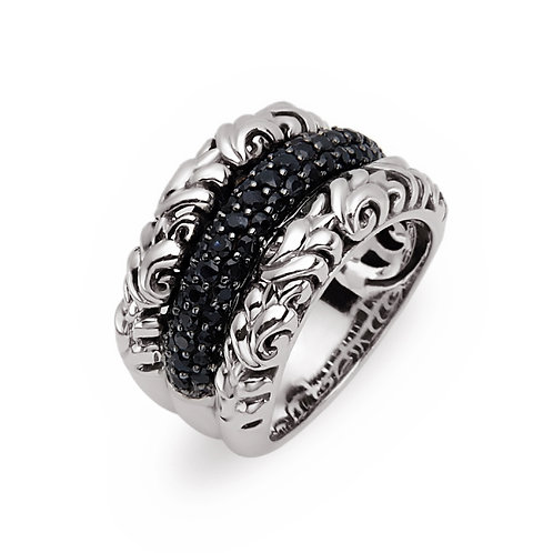 Charles Krypell Ivy Black Diamond 3 Row Ring