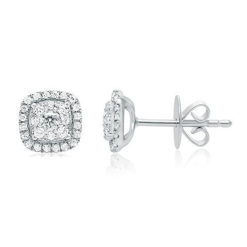 Roman & Jules Square Shaped Diamond Cluster Earrings