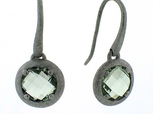 Green Amethyst Round Checkerboard Cut Earrings
