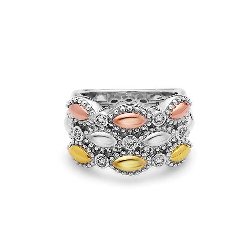 Charles Krypell Firefly Tri-Tone Diamond Ring