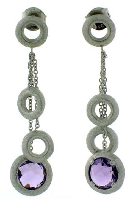 Amethyst Round Checkerboard Cut Dangle Earrings