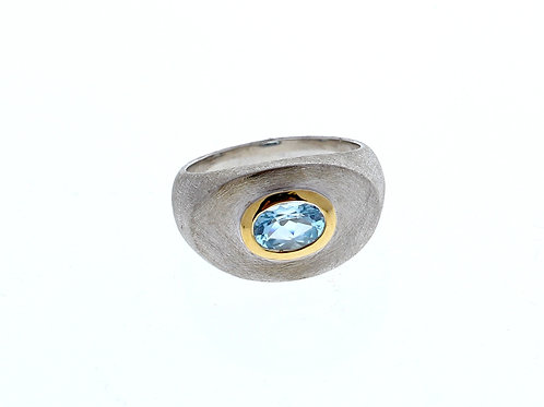 Blue Topaz Oval Bezel Set Ring