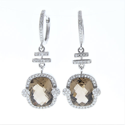 Smoky Quartz and Diamond Dangle Earrings