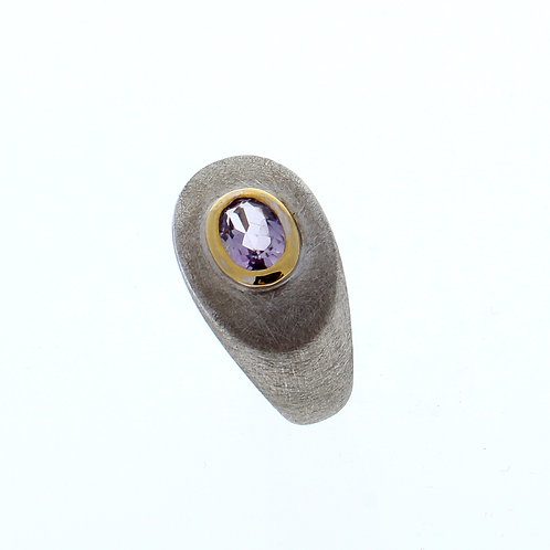 Pink Amethyst Oval Bezel Set Ring