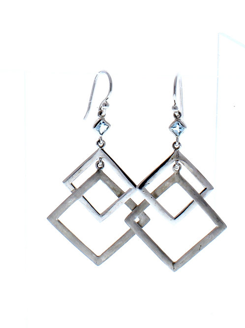 Blue Topaz Square Dangle Earrings