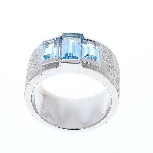 Three Baguette Blue Topaz Ring