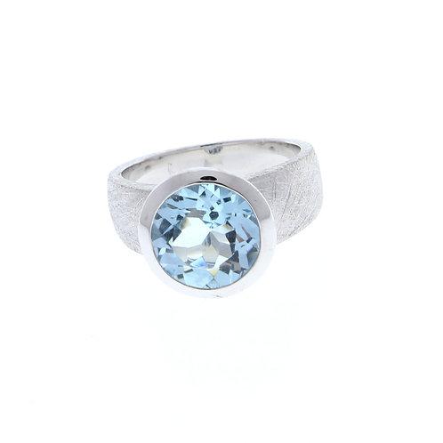 Blue Topaz Round Bezel Ring