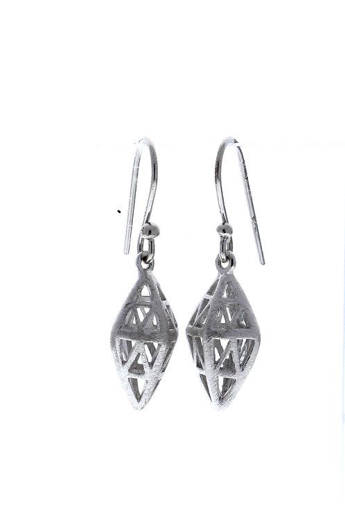 Diamond Shape Caged Dangle Earrings
