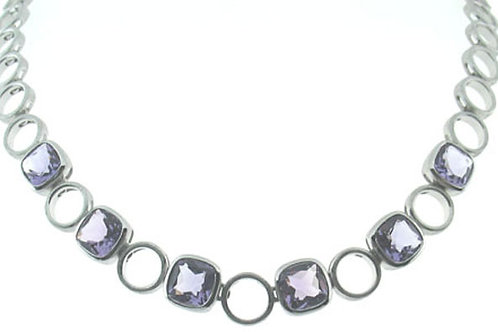 Cushion Pink Amethyst Necklace
