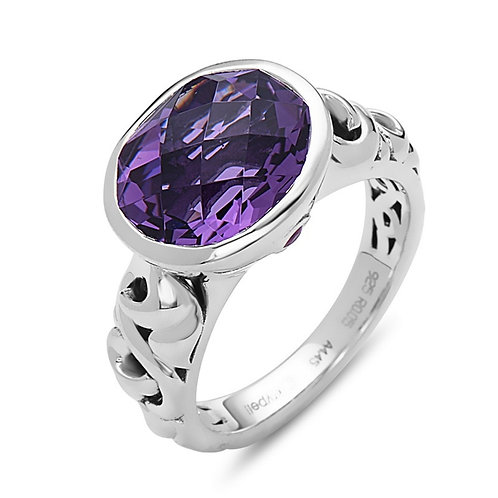 Charles Krypell Ivy Oval Amethyst Ring