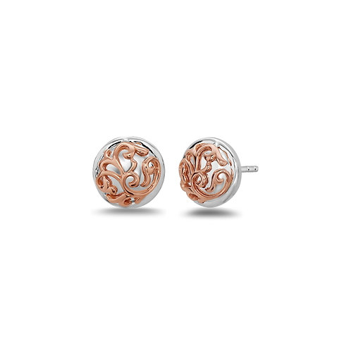 Charles Krypell Rose Ivy Lace Button Earrings
