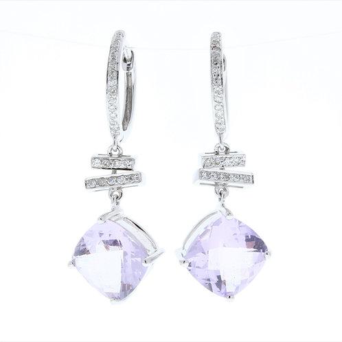 Pink Amethyst and Diamond Dangle Earrings