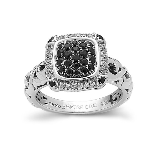 Charles Krypell Ivy Square Black Sapphire Cluster Ring