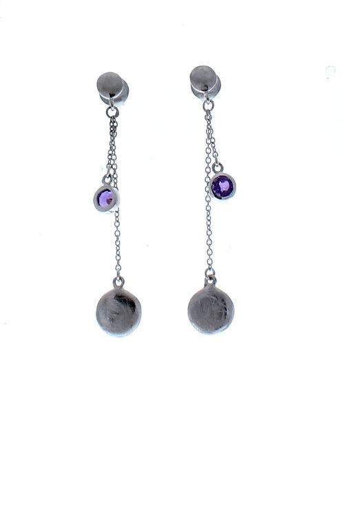 Amethyst Bezel Dangle Earrings