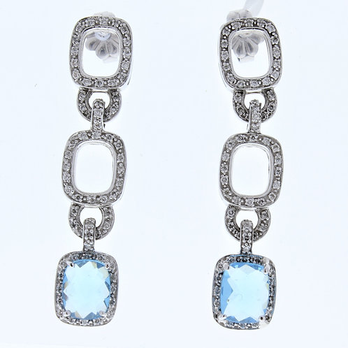 Blue Topaz and Diamond Open Drop Earrings