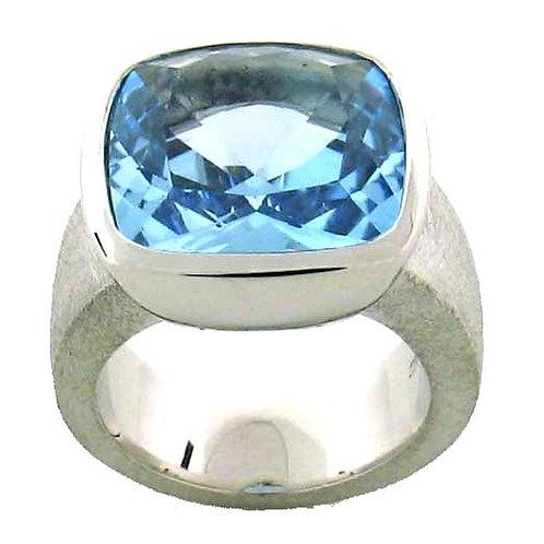 Blue Topaz Cushion Cut Ring