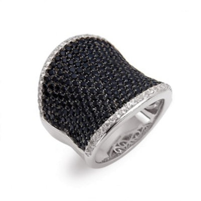 Charles Krypell Black and White Sapphire Ring