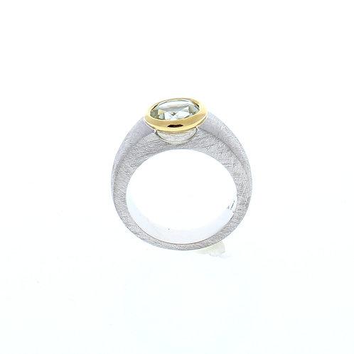 Green Amethyst Bezel Set Ring