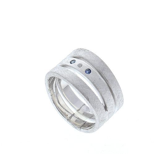 Three Band Sapphire & Diamond Ring