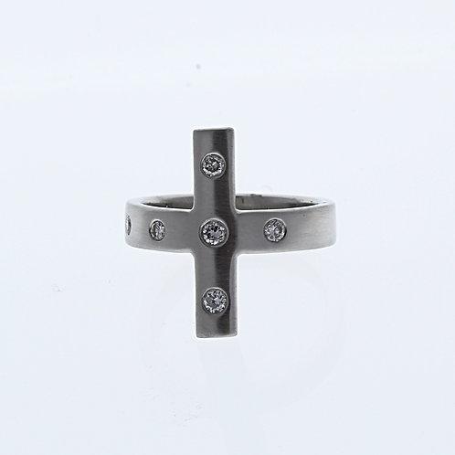 Handmade Diamond Cross Ring