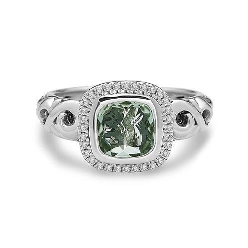 Charles Krypell Ivy Square Shaped Green Amethyst & Diamond Ring