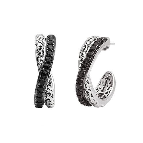 Charles Krypell Black Sapphire Hoop Earrings
