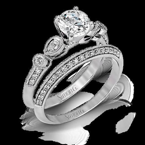 Simon G Diamond Miligrain Semi-Mount Wedding Set