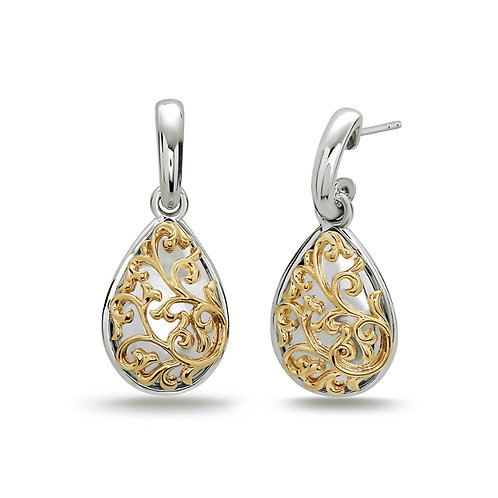 Charles Krypell Yellow Ivy Lace Pear Earrings