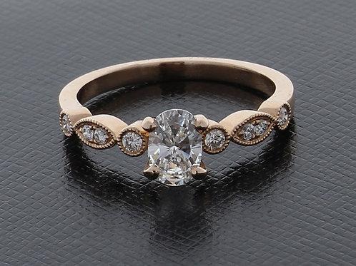Oval Diamond Milgrain Accent Engagement Ring