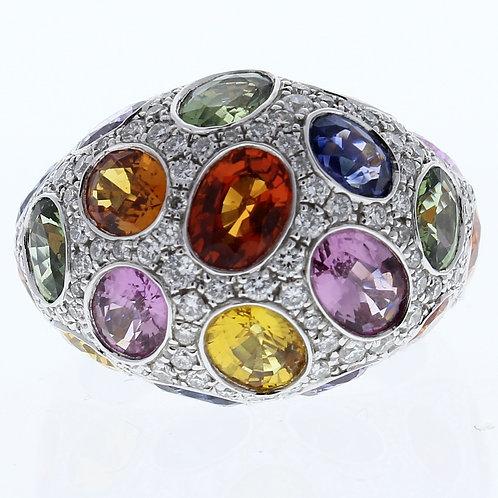 Multi Color Sapphire & Diamond Ring