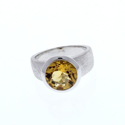 Citrine Round Bezel Ring