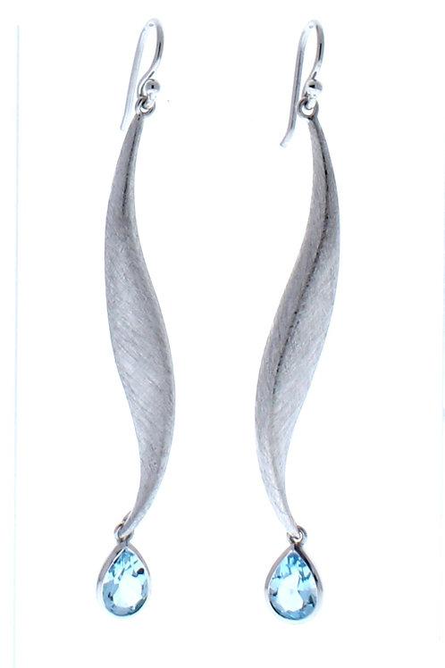 Blue Topaz Long Dangle Earrings