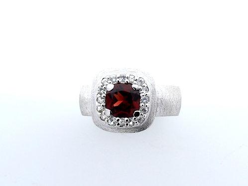 Garnet and White Sapphire Ring