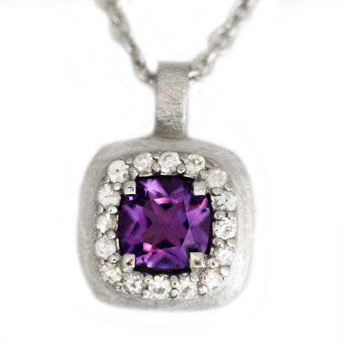 Amethyst & White Sapphire Pendant & Chain