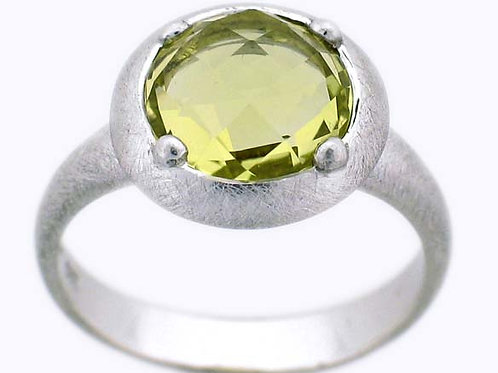 Checkerboard Lemon Quartz Ring