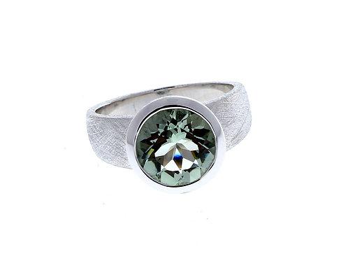 Green Amethyst Round Bezel Ring
