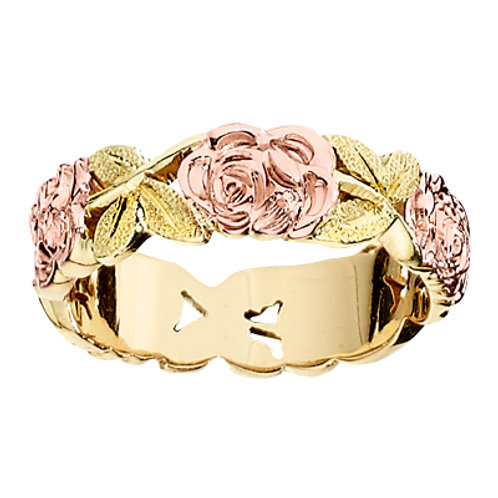 Jabel 14KT Rose & Green Gold Floral Band