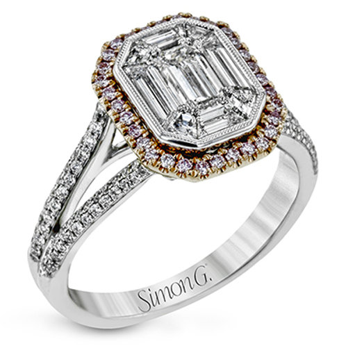Simon G Diamond Mosaic and Pink Diamond Engagement Ring