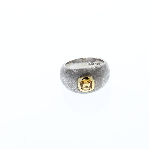 Citrine Two Tone Dome Ring