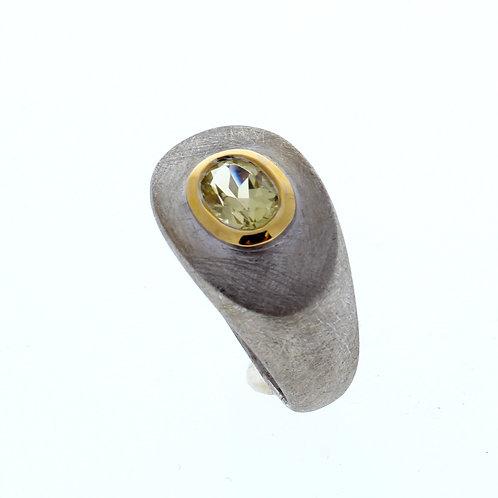 Lemon Quartz Oval Bezel Set Ring