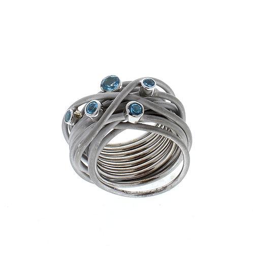 Blue Topaz Matte Ring