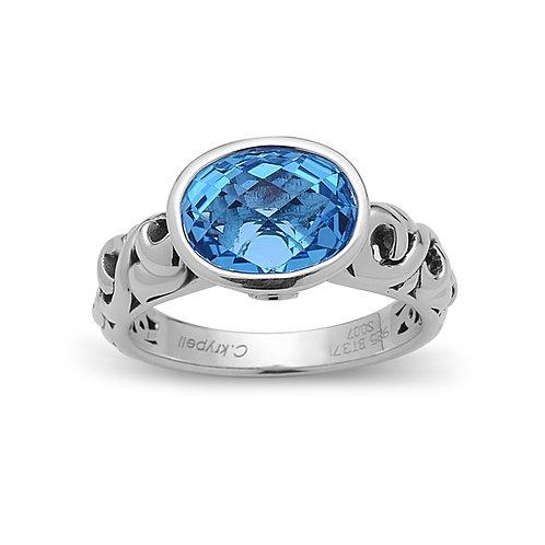 Charles Krypell Ivy Oval Blue Topaz Ring